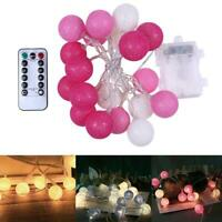 20LED Cotton Ball Garland String Light Fairy Lamp Holiday Xmas Bedroom Decor