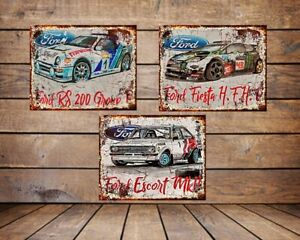 FORD RALLY CARS   , GRUNGE METAL SIGN /WALL ART, *CHOOSE YOUR SIGN*