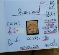QUEENSLAND QUEEN VIC 1D ORANGE RED THIN PAPER CROWN & Q STATE STAMP