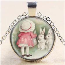 Little Girl Easter Bunny Rabbit Glass Tibet Silver Chain Pendant Necklace#Z3S