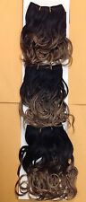 short 100% human weave hair setting curl extension  black brown mix color