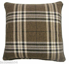 "FILLED BROWN CREAM TARTAN CHECK WEAVE 18"" THICK HEAVYWEIGHT CUSHION  #TRAT"