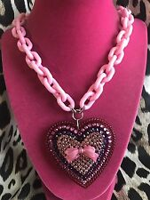 Tarina Tarantino Vintage Classic Cherry Red Pink Crystal HUGE Heart Bow Necklace