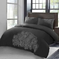 Chloe Deluxe 100% Cotton 180 Thread Percale Silver Embroidery Duvet Cover Set