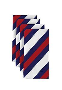 """Red & Blue Nautical Diagonal Stripe 18"""" x 18"""" Napkins 1 Dozen"""