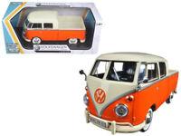 Motormax 79343 Volkswagen Type 2 T1 Double Cab Pick Up Truck 1:24 Cream Orange