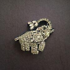 Elephant fabric & cubic zirconia brooch
