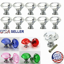 Crystal Knob Diamond Shape Acrylic Glass Drawer Cabinet Pull Handle Dresser 30mm
