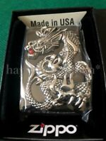 Zippo Oil Lighter Silver Dragon Metal Black Nickel Mirror Brass Stylish Japan