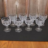 8 Clear Glass Coin Pattern Sherbets Ice Cream Bowl Sundae