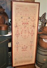 "Rare Aafa 1841 Sampler Show Towel Atq Pennsylvania Museum Deaccession 46"" x 16"""