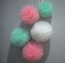 Tulle Pompoms wall decoration set of 5- Wedding,Baby Shower, Birthday - Venabell
