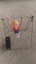 Antique Vintage Wind-Up Gymnast Gymnastic Toy Girl Figure Bars USA Old  1950's ?
