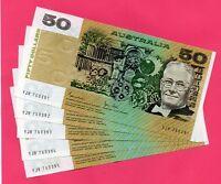 1983 AUSTRALIAN $50 JOHNSTON/STON  aUNC RUN of 5 NOTES YJR 760391 TO YJR 760395