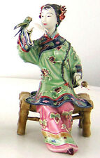 Porcelain / Ceramic Dolls Oriental Chinese Lady Figurine Bird Playing