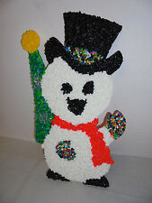 """Snowman With Christmas Tree, Melted Plastic Popcorn 18"""" Tall 11"""" Across Retro"""