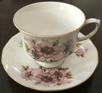 Queen Anne Bone China England Cup & Saucer Pattern 8470~Large Floral Design~Pink