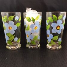 Libby Glasses Hand Painted Flowers Leaves Vines Blue Green Brown Vintage Lot 3