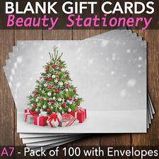 Christmas Gift Vouchers Blank Beauty Salon Card Nail Massage x100 A7+Envelope SI