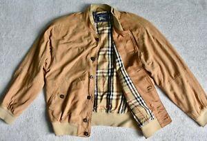 Vtg 90s BURBERRYS Sand Suede Leather Button Bomber Harrington Jacket Coat L