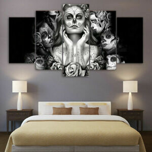 Day Of The Dead Sugar Skull Face Halloween Canvas Prints Painting Wall Art 5PCS