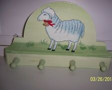 New listing New farmhouse country cottage pantry wall peg key Wood towel rack with sheep