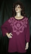 NWT CATHERINES BURGUNDY W/ PINK FLORAL SCROLL MEGA EXTRA LONG 3X  TOP FS
