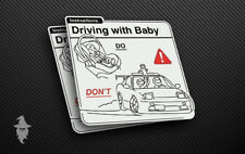 Driving with Baby Instruction JDM Stickers   Drift Car Decal   Turbo Vinyl