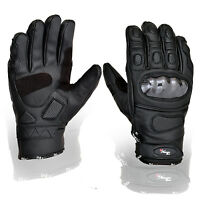 New Black Short Leather Knuckle Protection Motorbike Motorcycle Gloves