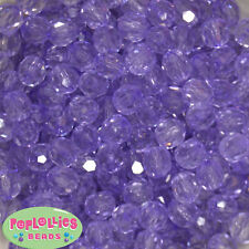 12mm Clear Lavender Facet Acrylic Bubblegum Beads Lot 40 pc.chunky gumball