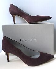 Ladies Jigsaw Burgundy Milly Suede Leather Court Shoes Size 7 (40) Boxed