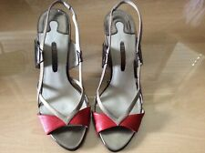 TED BAKER - PEEP TOE RED/GOLD STRAP HEELS - SIZE 5 WORN ONCE WEDDING/S/OCCASION