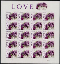 2010 LOVE PANSIES Mint Sheet 20 44¢ Stamps 4450 Purple Violets Viola Mothers Day