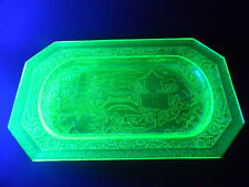 Large Stunning Uranium Glass Plate Chinese Temples Moulded Depression Green Chip