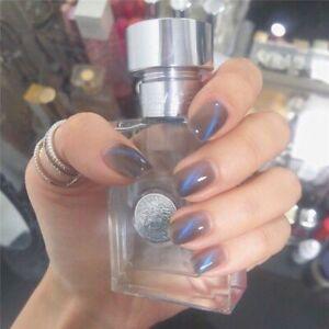 Press On Fake Nails Full Cover Short Square Acrylic Nail Tips Blue Cat Eye 24Pcs