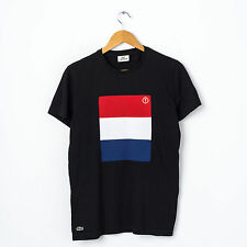 LACOSTE FLAG T-Shirt in Black Size 2 XS Short Sleeve Netherlands Tee Top