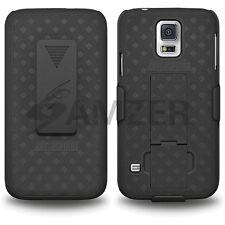 Amzer Shell Hard Combo Kickstand Case Belt Clip Holster GALAXY S5 SM-G900 Black