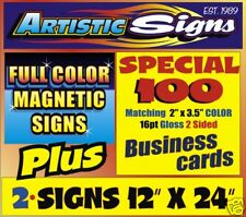 2 Magnetic Landscaping Truck SIGNS + 100 Business Cards