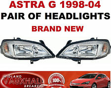 VAUXHALL ASTRA G MK4 98-04 PAIR CHROME HEADLIGHTS HEADLAMPS DRIVERS + PASSENGERS