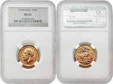 India 1918-I Sovereign Gold Coin NGC MS-63