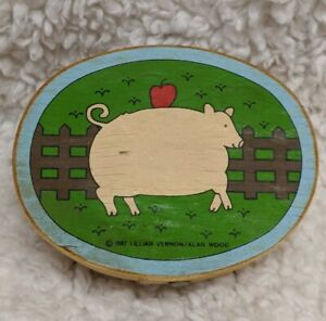 4.5 inch Oval Cardboard Box Pig Country Farm Lillian Vernon 1982 FS