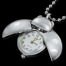 DBS Silver Bettle Pocket Necklace Watches Montres penden​tif Quartz Gift