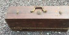 Old Vintage Wood Carpenter Tool Box Machinist Seaman Trunk Chest Leather Handle
