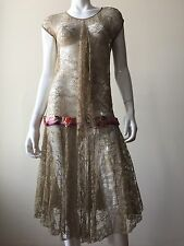 Antique VTG 1920's Lace Wedding Dress Silk Ribbon And Flowers, Small