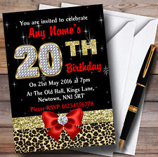 Red Diamond And Leopard Print 20Th Birthday Party Personalised Invitations