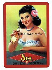 A65 SINGLE swap playing cards MINT ADVERT GLAMOR Spanish lady MOCTEZUMA beer