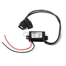 Dual USB 12V to 5V Power Adapter Converter Cable Connector Car Charger For Phone