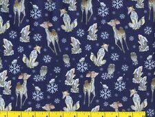 Snowflakes Deer Rabbit Birds on Blue Christmas Quilting Fabric by the Yard #3219