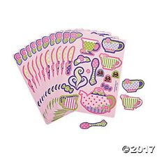24 Tea Party Cups Pot Sticker Sheets Girls Kids Crafts Birthday Party Favors