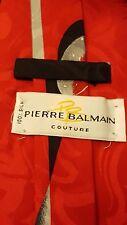 "Authentic, Pierre Balmain Couture, Red, Silk, Geometric Print, Neck Tie (60"")"